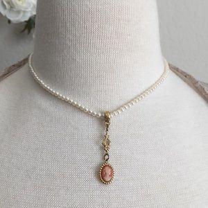 1928 Jewelry Pearl Cameo Choker